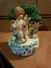 Angel Figurine Music Box With Lion & Baby Lamb plays Amazing Grace.