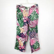 Tommy Bahama Palm Leaf Print 100% Linen Pants Size 12 Womens