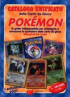 CATALOGO unificato carte da gioco POKEMON 2001prima EDIZIONE 01 manuale catalogo