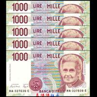 Lot 5 PCS, Italy 1000 1,000 Lire, 1990, P-114, UNC