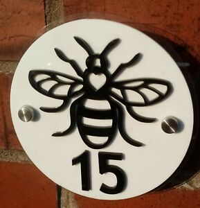Manchester Bee modern acrylic house sign. Made in Manchester