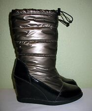 WOMENS BRONZE COUGAR SNOW RAIN WINTER WATERPROOF WEDGE BOOTS US 10 EU 40 40.5 41