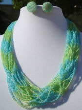 Stunning! Italian Green Blue Seed Beaded Torsade Multi-Strand Necklace+Earrings