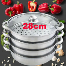 Large 5pcs Steamer Cooker Pot Set Pan Cook Food Glass Lid 4 Tier Stainless Steel