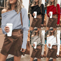 Women's One Shoulder Knitted Loose Hoodie Long Sleeve Casual Sweater Jumper Tops