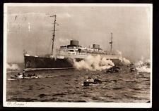 "1932 Norddeutscher Lloyd D.Europa ship Bremen Germany 4""x5 3/4"" stamp postcard"