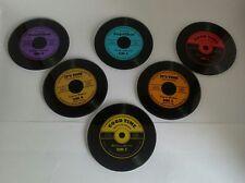 Musicology Set of 6 Glass Vinyl LP Record Retro Design Coasters & Holder