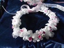 White/Multi  Pink Flower Circlet - Wedding Halo, Flower Girl - by Valerie J