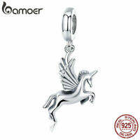 BAMOER Solid S925 Sterling Silver Charms Fly Horse Dangle DIY for Bracelets