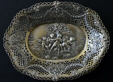 """Antique Hand Crafted .800 Silver """" Children Playing in The Garden """" Bowl Signed"""