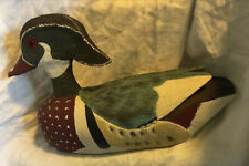 Artist Signed '93 Hand Carved Wood Duck Drake Wooden Decoy Glass Eyes