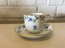 Herend Hand Painted Hungary Porcelain Cup & Saucer Blue Garland Pattern
