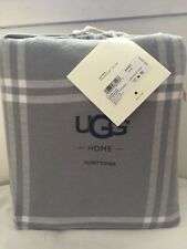 UGG Flannel Cotton Luxe Duvet Cover Grey Reversible Windowpane Plaid sz.King