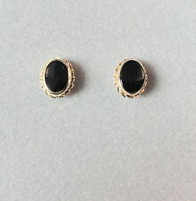 14K Yellow Gold Onyx Earring Set - -