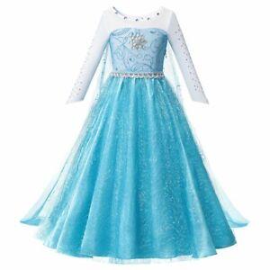 Girls Fancy Queen Elsa Costume Synthetic Crystal Elsa Party Dress Queen Cosplay