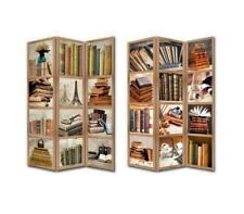 180cm Book Shelf Canvas Room Divider Screen Foldable Double Sides Divider