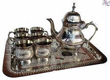 Brass Silver Plated Tea Set,Antique, 6 cups/Saucers, Teapot ,Tray,Tea Kettles