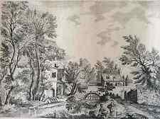 Estampe signée Gampau ? scène champêtre Fin XVIII début XIXe école flamande ?