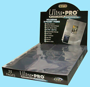25 ULTRA PRO PLATINUM 9-POCKET Card Pages Sheets Protectors Baseball Storage