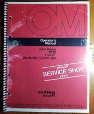 John Deere 2030 Tractor S/N 187301- Owner's Operator's Manual Om-R59805 F4 6/74