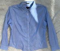 Womens Button Down Long Sleeve Blouse Top Dress Shirt Blue White Striped Size M