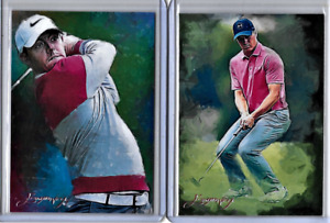 Rory McIlroy Jordan Spieth Authentic Artist Signed Limited Editions 2 Card Lot