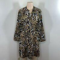 Larry Levine Dress size large brown black animal print pullover sheath womens