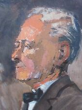 Old Original Impressionist style Oil Painting Portrait of a Man.