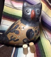 Vintage Mexican Folk Art Large Owl Vintage Clay Pottery Unique Very Collectable