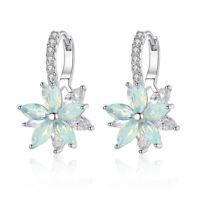 Cute Romantic Flower Shape Stud Earrings Cubic Zirconia Women Party Jewelry Gift