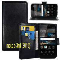 NEW BLACK WALLET LEATHER GEL CASE WITH CARD SLOT FOR Motorola Moto E3 2016 3rd