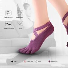 2Pairs Pilates Yoga Socks Non Slip Massage with Grip&Straps Full Toes for Women