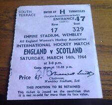 England v Scotland - Womens International Hockey ticket - Wembley - 14/3/64