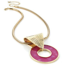 Statement necklace is a Gold chain & hook design with a Fuchsia Disc