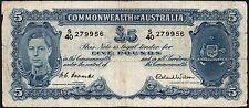 1952 AUSTRALIA £5 POUNDS BANKNOTE * S/40 279956 * aF-F * P-27d *