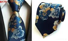 Navy Blue and Orange Flower Patterned Handmade 100% Silk Tie