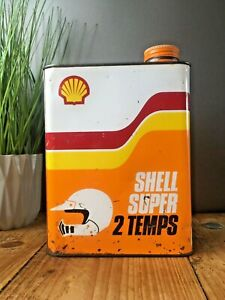 VINTAGE SHELL SUPER 2 TEMPS OIL FUEL CAN GARAGE MAN CAVE MOTORBIKE SHOP DISPLAY