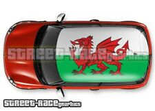 117 Car roof wrap printed sticker - Welsh flag - fits all small / medium cars