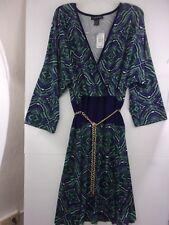 NWT Ashley Stewart Womans 22/24 Dress Blue/Green Print w/ Gold Chain Belt NEW