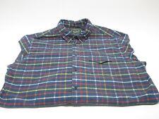Mens Woolrich XL Plaid Flannel Long Sleeve Button Front Blue Multi Color Stripe