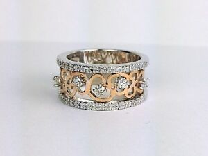 14K White and Rose Gold Round Diamond Ring 9.8 mm Wide Band Heart Design