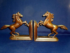 VINTAGE HORSE CAST BRONZE ? METAL BOOK ENDS PAIR VGC OLD COLLECTABLE EQUESTRIAN
