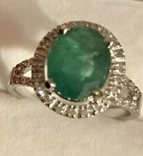 3.05CT Natural Green Colombian Emerald & Diamonds 14K White Gold Ring