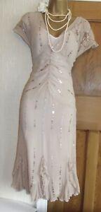 Fabulous ❤️ Vintage Nude Size 10 12 Style Coast Silk Gatsby Downtown Dress  £135