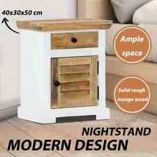 Nightstand White and Brown 40x30x50 Cm Solid Rough Mango Wood vidaXL