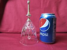Cut glass bell with silver plated handle