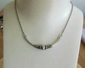 """Handmade Bali Tube and Ball Chain Necklace Crescent Moon  Sterling Silver 16"""""""