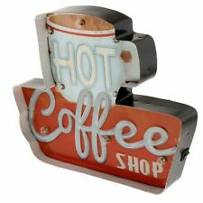 Vintage Cafe Bar Sign Plaque With LED Light Small Coffee Shop Metal Tin Signs