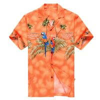 Made in Hawaii Men Hawaiian Aloha Shirt Luau Cruise Party Parrots Palm Orange