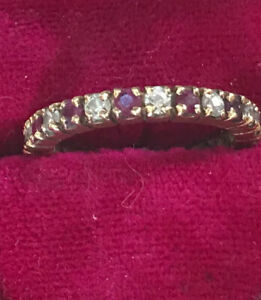 Vintage 10K Diamond And Ruby Eternity Band Ring